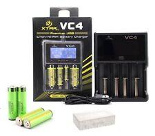 XTAR VC4 Universal charger + 4 Panasonic NCR18650B Protected Li-ion batteries
