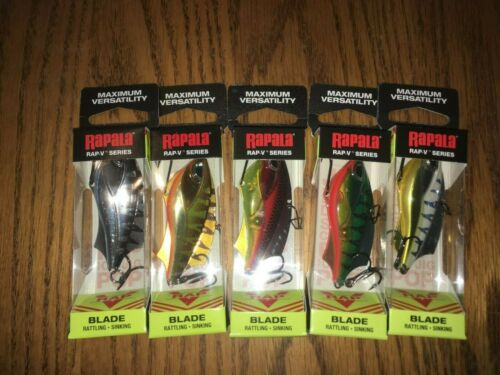 RAPALA  RAP V BLADE 06/'s---LOT of 5 DIFFERENT COLORED FISHING LURES-RVB06==NEW!