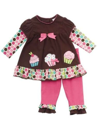 Rare Editions Girls Brown Fuchsia Cupcake Dress Leggings Outfit Set 2T New