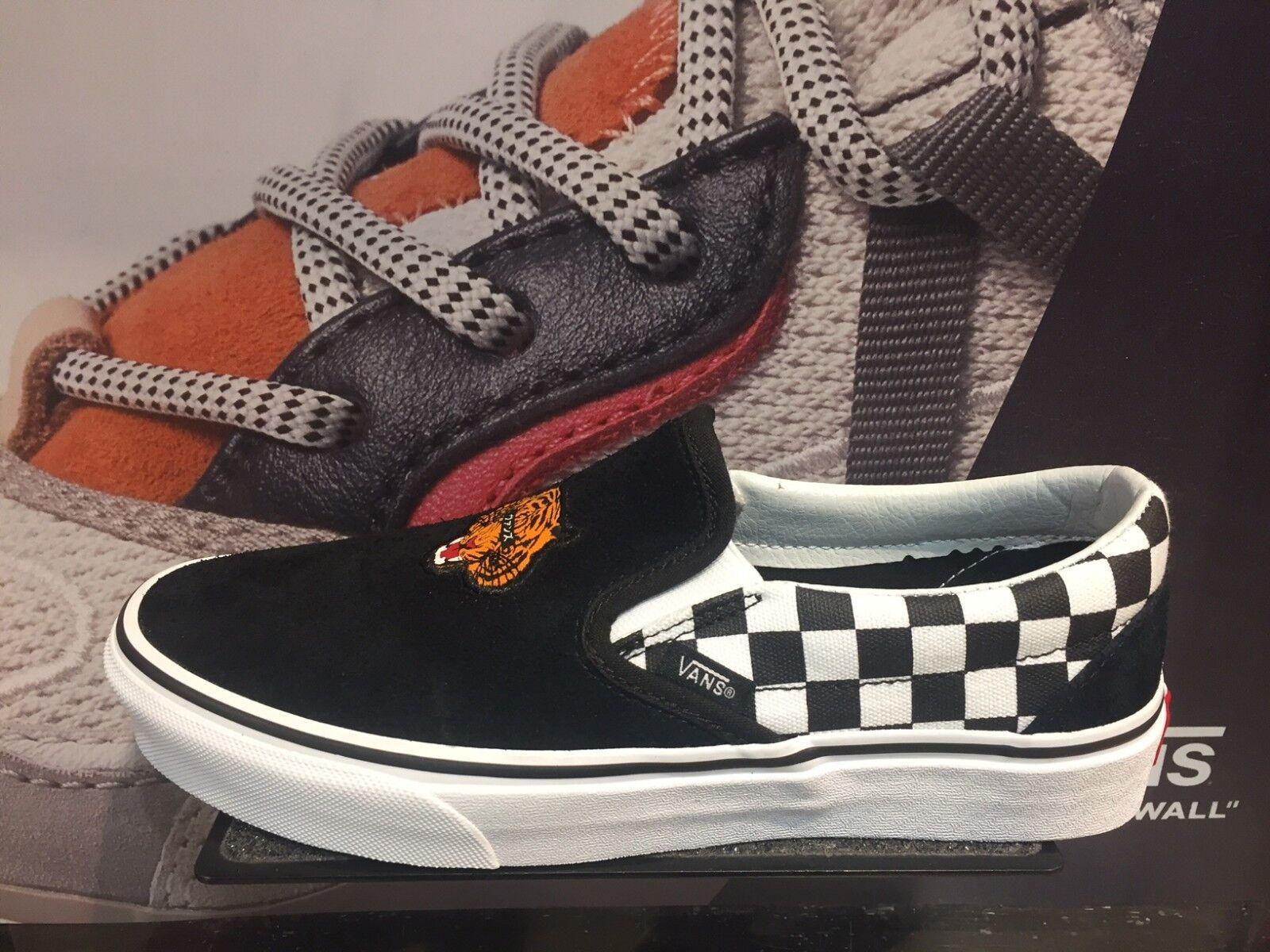 Vans Slip On Tiger Pack Japan Black White Checker Suede New MEN Sz 4-13 Limited