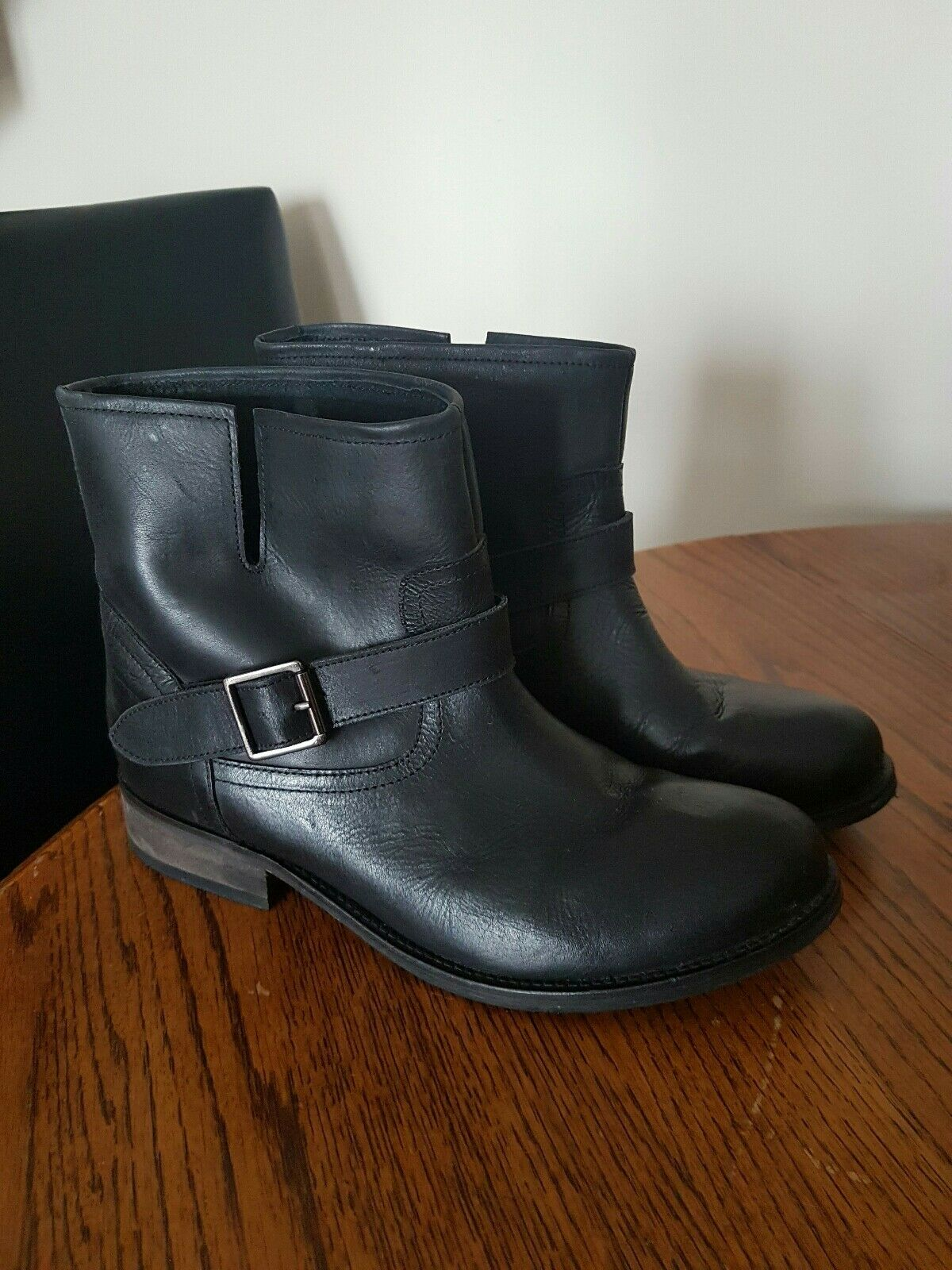 OFFICE Ladies Black Leather Ankle Boots With Buckle Size UK 7