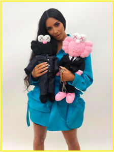 KAWS-BFF-OriginalFake-Plush-Doll-Black-Pink-Soft-Sesame-Street-Stuffed-2Pcs-Set