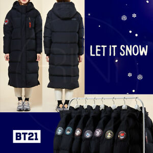 4a49f8463 BTS BT21 Official Authentic Goods Long Padded Bench Down Coat Black ...