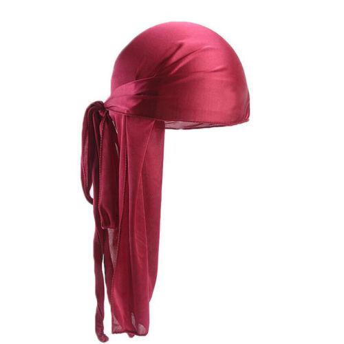Durag Headband Headwear Pirate Cap Unisex Hat Smooth Silk Nylon Cap Solid Color