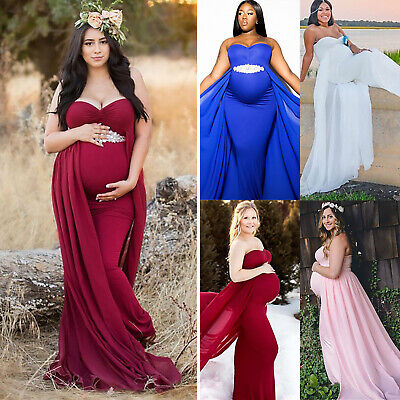Pregnant Women Gown <b>Maternity</b> Maxi Dress Wedding Party ...