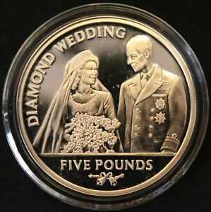 2007-Gibraltar-Diamond-Wedding-Five-Pound-5-Coin-Silver-Coins-KM-Coins