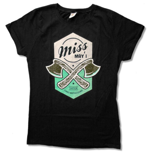 """MISS MAY I /""""AXES/"""" GIRLS JUNIORS BLACK T SHIRT NEW NWT BAND OFFICIAL"""