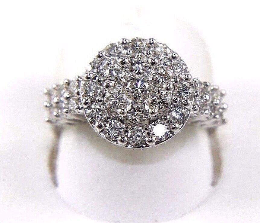 Round Diamond Cluster Engagement Ring 14k White gold 1.60Ct