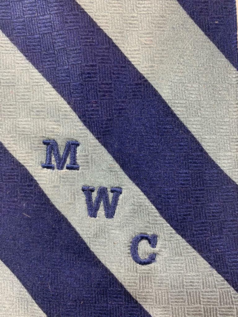 MERGE LEFT Mwc Dunkelblau Grau Seide Krawatte Streifen Krawatte MMA0421B #R39