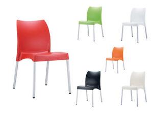 Détails sur Chaise VITA plastique empilable design cuisine jardin bar  ergonomique salon neuf