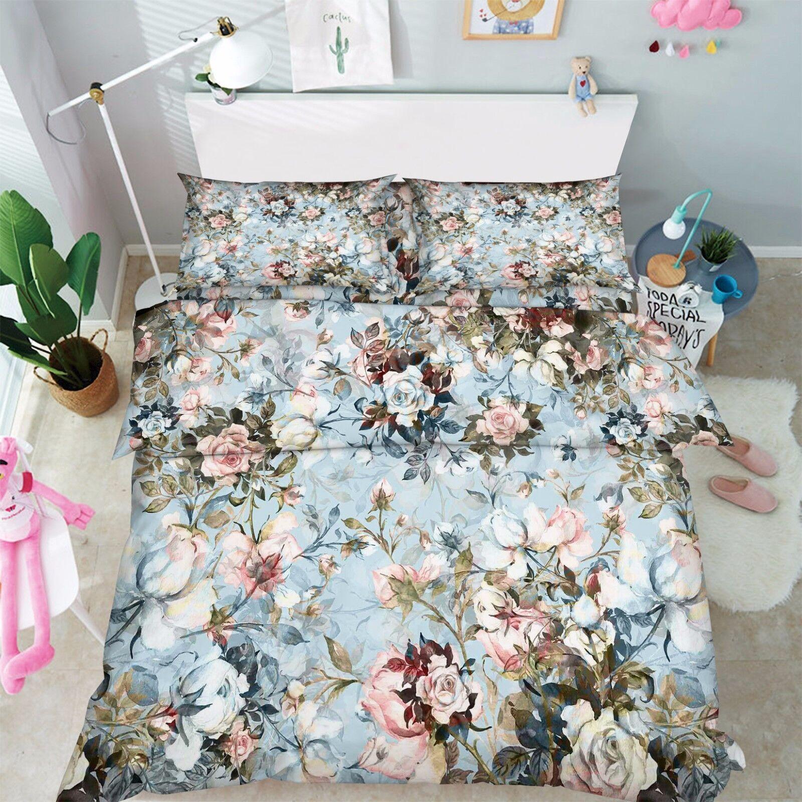 3D Blühende Zweige 47 Bett Kissenbezüge steppen Duvet Decken Set Single DE Carly