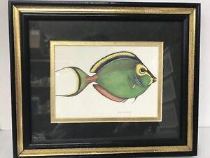 Jean-Cassady-Signed-Lithograph-Green-Fish-Matted-Framed-Art-10-X-12-Hanging