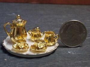 Dollhouse-Miniature-Gold-Tea-Set-1-12-inch-scale-G49-Bodo-Hennig-Dollys-Gallery