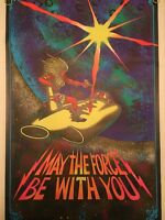 May The Force Be With You Outer Space Vintage Blacklight Poster Psychedelic 70's