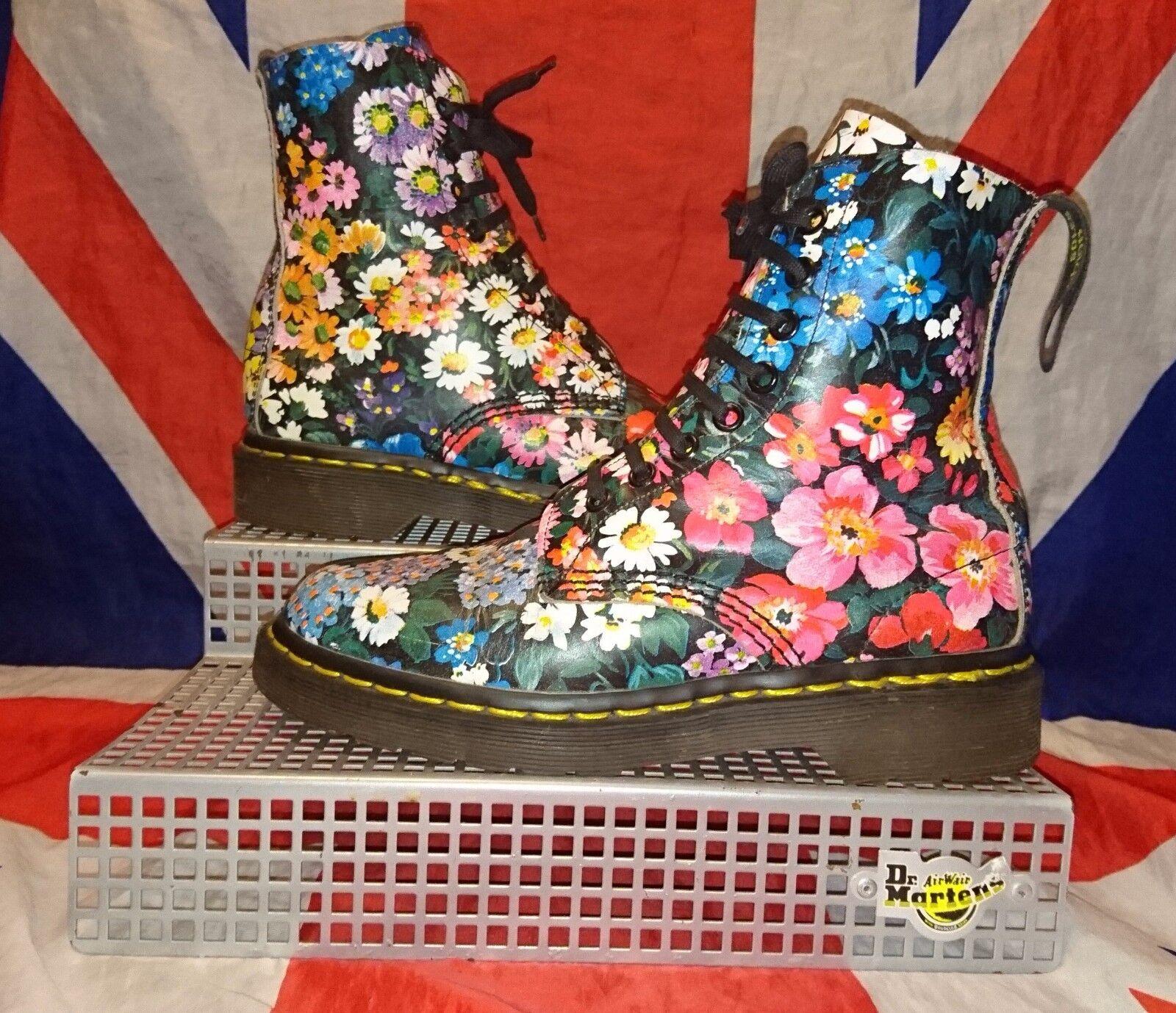 Rare*England Made*90s Vintage Black Floral Dr Doc Martens*Hippy Meadow Flowers*4