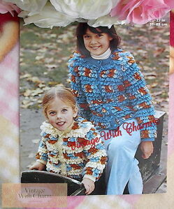 Baby DK Knitting Pattern  Loopy Cardigan Jacket and Hat Sizes 20-24 inches #196