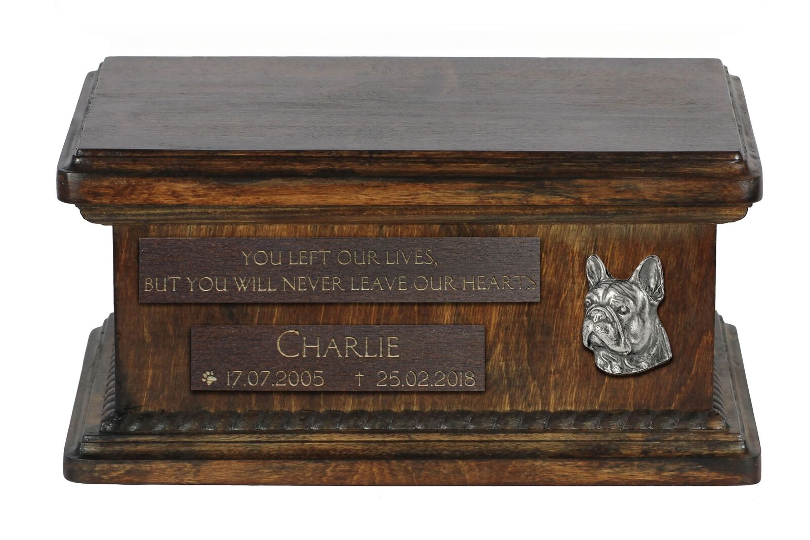 French Bulldog 2  wooden urn for dog's ashes, low model, Art Dog