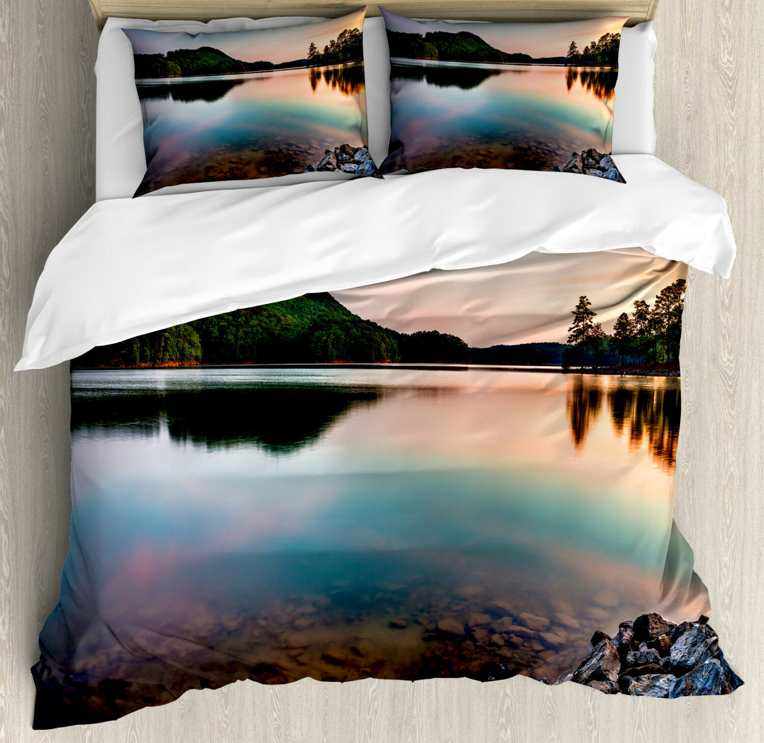 Lake Duvet Cover Set with Pillow Shams Allatoona Red Top Mountain Print