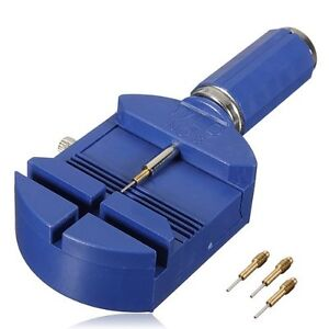 Stiftausdruecker-Uhrmacherwerkzeug-Armbandkuerzer-Blau-fuer-Uhrenarmband-3-Stif