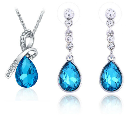Women Crystal Drops Stud Earrings Necklace Pendant Jewelry Set For Wedding Party