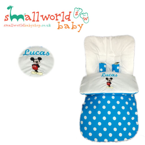 UNIVERSAL FOOTMUFF COSY TOES PERSONALISED PRAM MICKEY MOUSE BUGGY STROLLER BOY