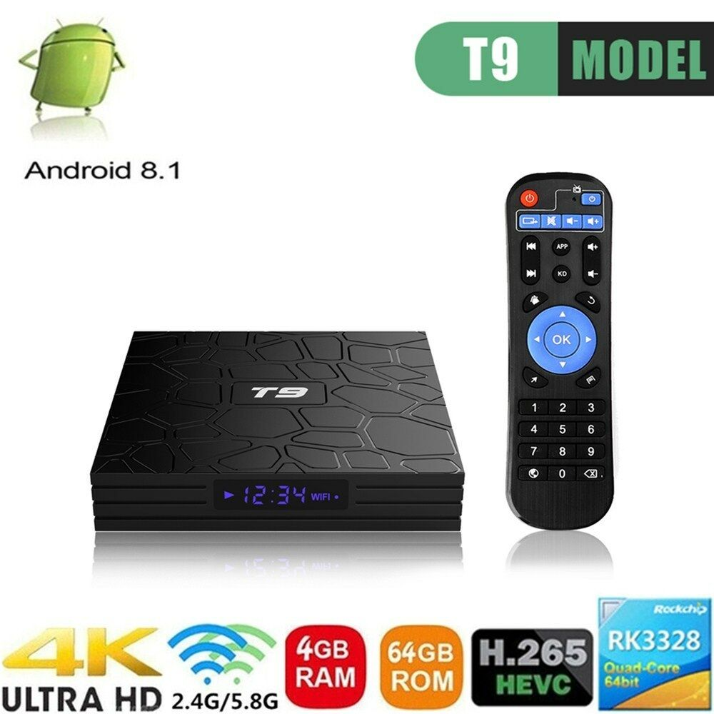 4G+64G T9 Smart Android 8.1 TV Box RK3328 Quad Core 5.8G WiFi 4K 3D USB 3.0 A8H2