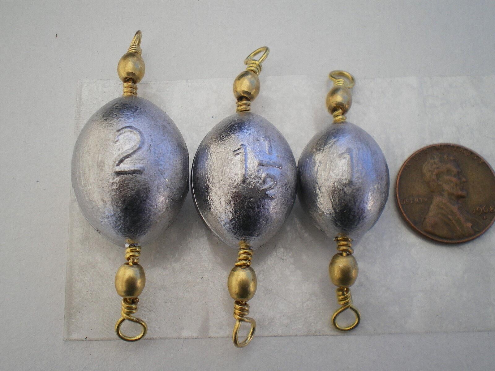100 Piezas.  5 latón giratoria huevo plomos 1,1-1 2,2, Oz. elija cualquier Calidad  alargados