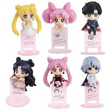 Set of 6pcs Sailor Moon PVC Figure Cup Coaster Tea Cafe Toy Tsukino Usagi No Box