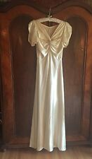 Haute Couture Champagne Full Length Satin Wedding Gown- Art Deco Ball Gown
