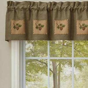 Country Pineview Lined Valance 60X14 Green Tan Houndstooth Cotton Pinecone