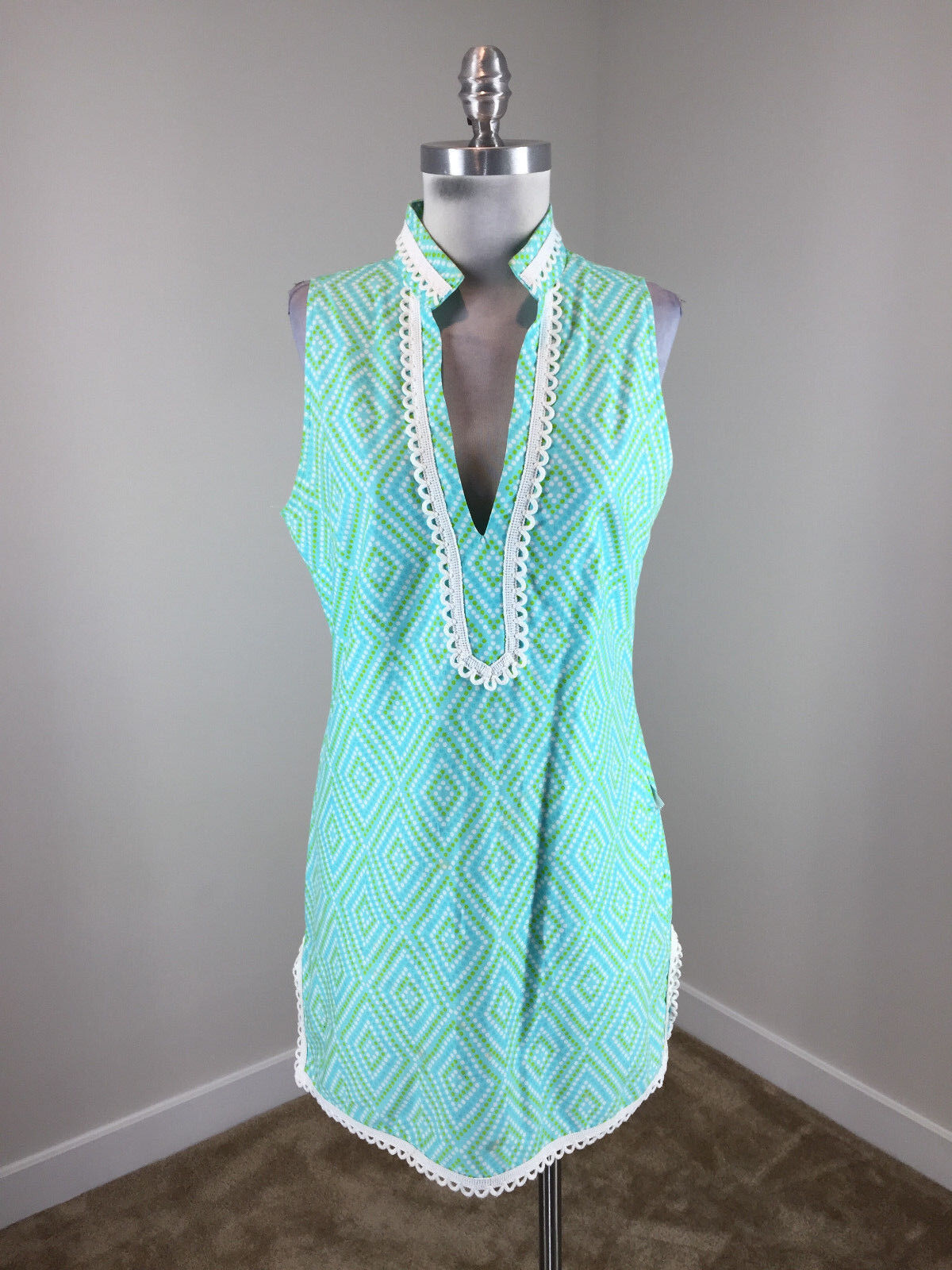 STS Sail To Sable XS 2 Blau Gree Dress Shift Excellent jacquard sleeveless