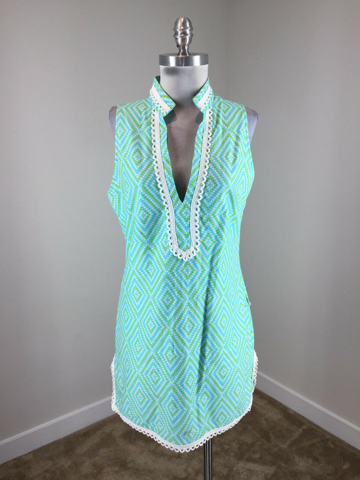 STS Sail To Sable XS 2 blueee Gree Dress Shift Excellent jacquard sleeveless