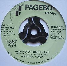 "WARNER MACK - Saturday Night Live - Excellent Condition 7"" Single Pageboy PB 45"