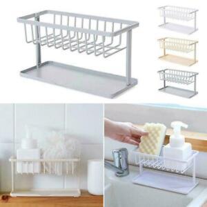 Sponge-Sink-Tidy-Storage-Double-Drain-Rack-Kitchen-Holder-Utensil-Organizer-D9W9