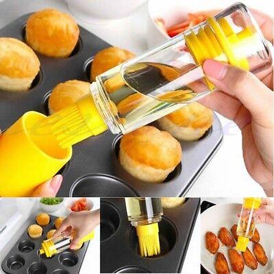 2 In 1 Silicone Oil Brush Honey Bottle Cooking Baking Pancake BBQ Kitchen Tool