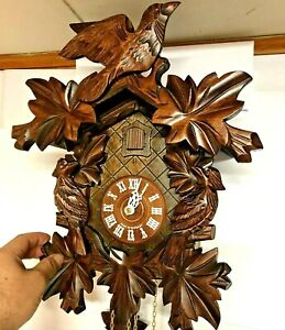Vintage-Black-Forest-Reuge-8-Day-Cuckoo-Clock-8-leaves-No-859-Made-in-Germany