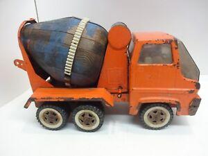 Orange-Tonka-Cement-Wood-Mixer-Truck-Pressed-Steel-Toy