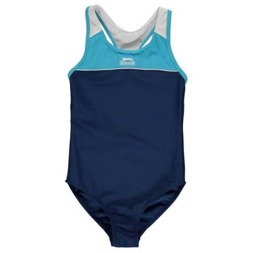 Le ragazze Junior Navy Slazenger Racer Back Nuoto Tuta Costume Da Bagno Nuoto Spiaggia
