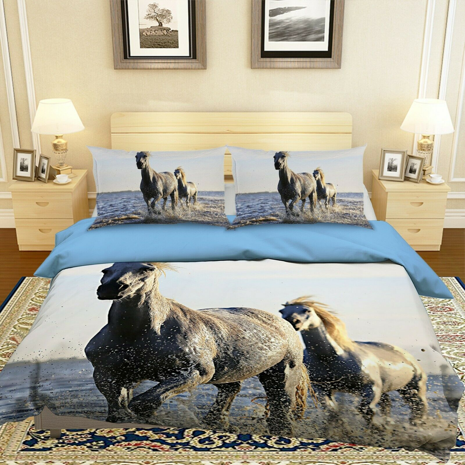 3D Horses T057 Animal Bett Pillowcases Quilt Duvet Startseite Set Königin König Sunday