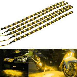 Lot5-Yellow-15-LED-30CM-Car-Grill-Flexible-Waterproof-Light-Strip-SMD-12V-Sales