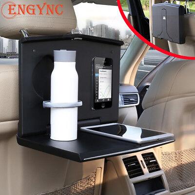 Car Seat Back Folding Tray Snack Dinner Table Desk Drink Holder Support Black
