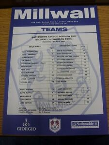 14042001 Colour Teamsheet Millwall v Swindon Town  Thanks for viewing this i - <span itemprop=availableAtOrFrom>Birmingham, United Kingdom</span> - Returns accepted within 30 days after the item is delivered, if goods not as described. Buyer assumes responibilty for return proof of postage and costs. Most purchases from business s - Birmingham, United Kingdom
