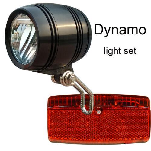 FOXEYE StVZO LED Bike Front Head light 40LUX for HUB dynamo rear light set