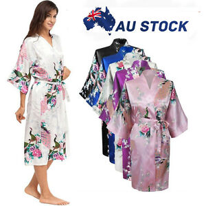 FLORAL-SATIN-ROBE-Kimono-Women-Dressing-Gown-Wedding-Party-Bridesmaid-Nightgrown