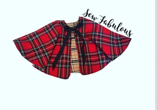 Handmade Baby Girls Capes Skirts Clothes UK Red Caramel Tartan Outfit Lot Tartan