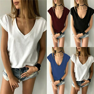 dcb07ce3 Women Baggy Oversized Loose Fit Turn Up Batwing Sleeve Ladies V Neck ...