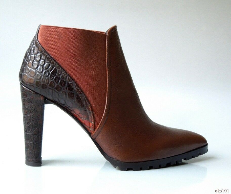 New STUART WEITZMAN brown leather croco stretch pointy toe ANKLE BOOTS shoes 6