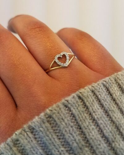 14K Solid Yellow Gold Heart Ring CZ Cubic Zirconia Valentine Engagement Promise