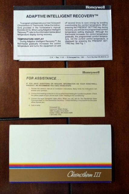 Honeywell Chronotherm Iii Programmable Heat Ac Thermostat For Sale Ebay