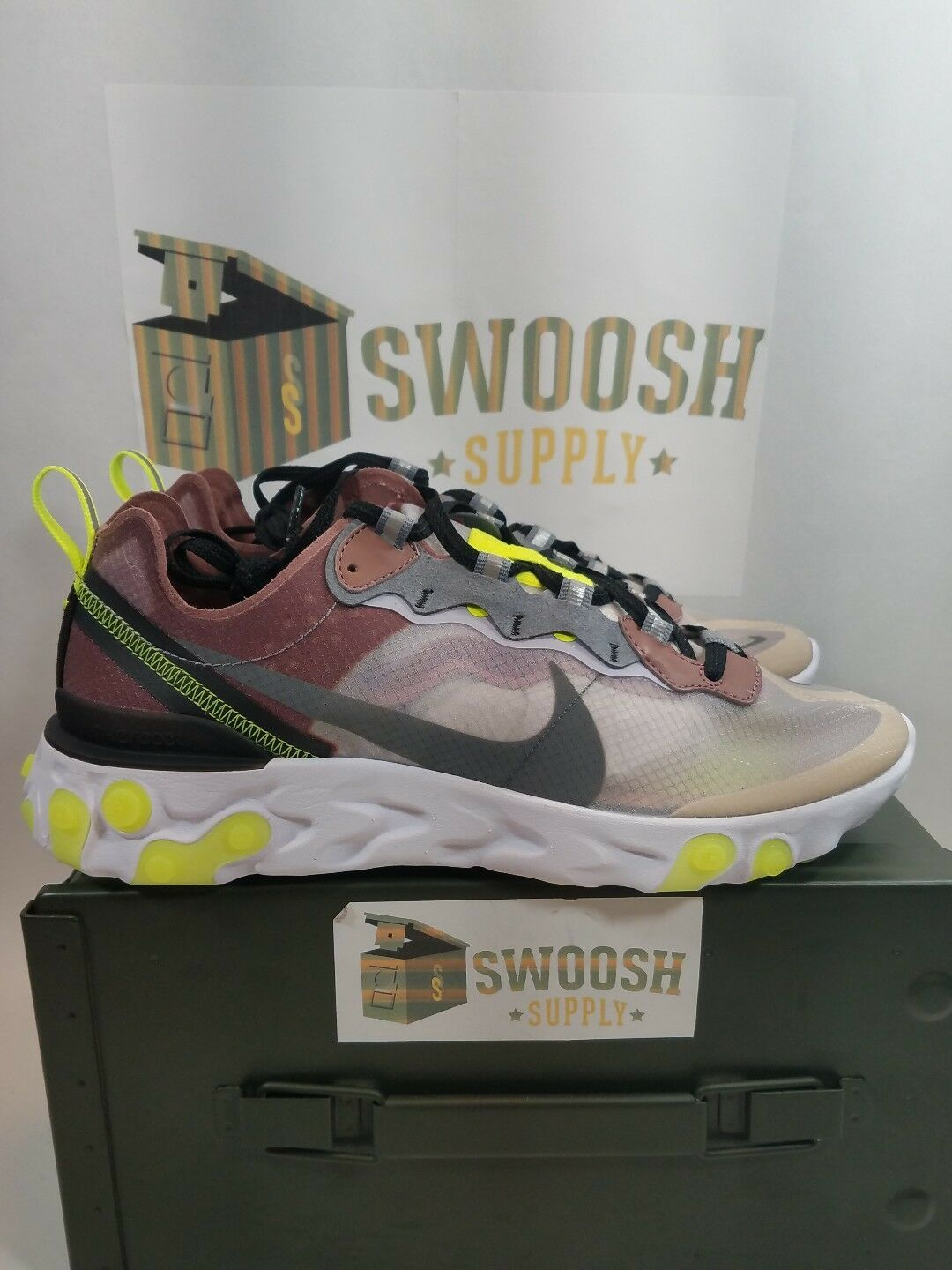 Nike React Element 87 Desert Sand Volt QS Size 8 Limited Edition AQ1090 002 DS